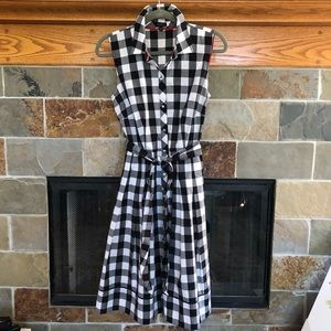 TALBOTS Shirt Dress, Black & White Buffalo Plaid